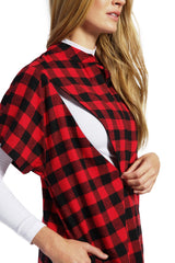 Isla - Red Check Short Sleeve Nursing Top short sleeve blouse Loyal Hana