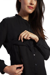 Jenni - Black Leather Detail nursing top long sleeve shirt Loyal Hana