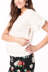 Joey - White Short Sleeve with Ruffle Loyal Hana