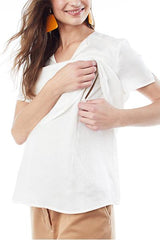 KATHERINE - White - Layered Nursing and Maternity Top short sleeve blouse Loyal Hana