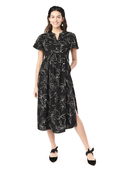 LILY IN ABSTRACT FLOWER - FLUTTER SLEEVE NURSING & MATERNITY DRESS