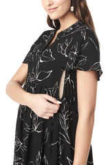 LILY ABSTRACT FLOWER FLUTTER SLEEVE DRESS short sleeve dress LoyalHana