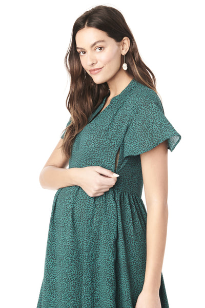 LILY IN GREEN LEOPARD - FLUTTER SLEEVE NURSING & MATERNITY DRESS