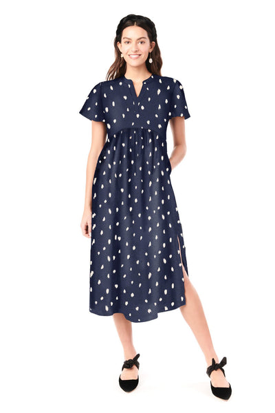 LILY IN NAVY PARIS - FLUTTER SLEEVE NURSING & MATERNITY DRESS