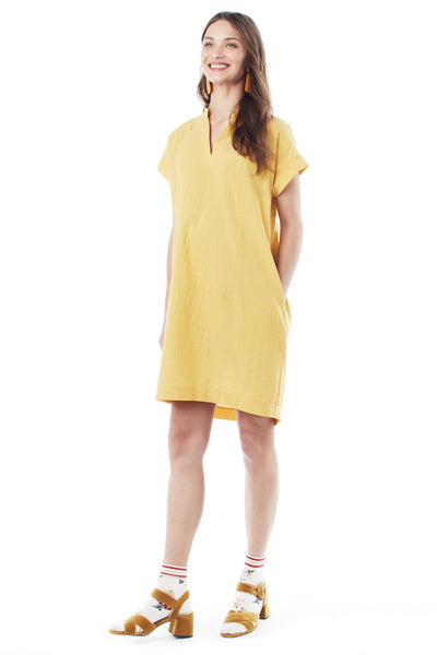 Meet Cybelle: Our Yellow Short-Sleeve Maternity Dress