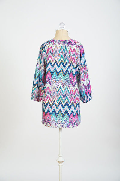 Megan- Pink Purple Print 3/4 sleeve top