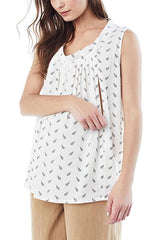 NICOLE - Sleeveless Pleated Nursing and Maternity Blouse - White Arrow sleeveless blouse Loyal Hana
