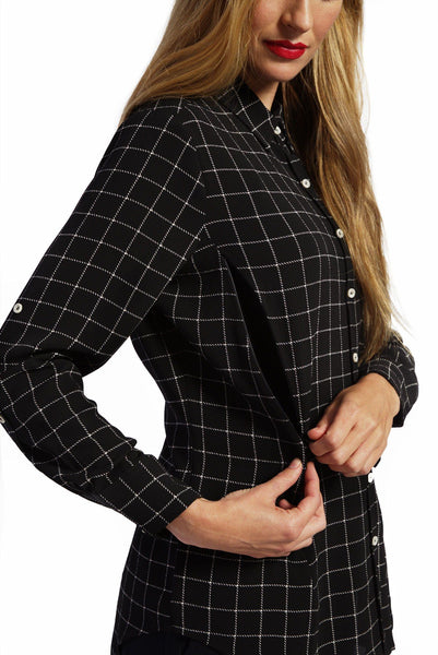 Riley - Black Box Plaid Top