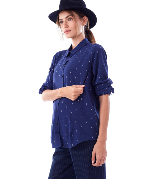 RILEY- BLUE ARROW long sleeve button down nursing and maternity blouse