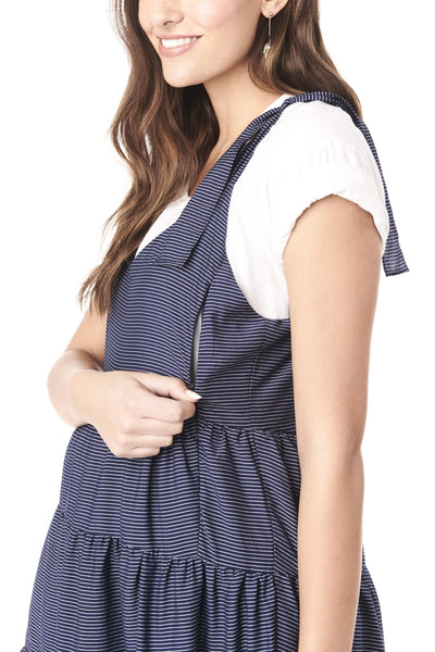 RIO - NAVY STRIPES NURSING AND MATERNITY DRESS