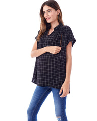 SHANNON - Box Plaid - Nursing and Maternity Top tank top blouse Loyal Hana