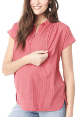 SHANNON- RED Nursing and Maternity Top short sleeve blouse Loyal Hana