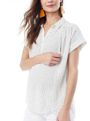 SHANNON- Square Dot Nursing and Maternity Top short sleeve blouse Loyal Hana