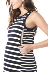 SHARON - BLUE WHITE STRIPES NURSING AND MATERNITY SLEEVELESS DRESS LoyalHana