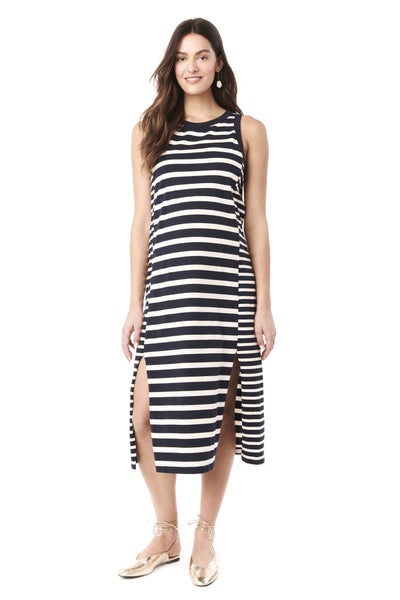 SHARON - BLUE WHITE STRIPES NURSING AND MATERNITY SLEEVELESS DRESS