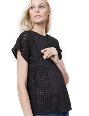 TARA - Black - Nursing and Maternity Top short sleeve blouse Loyal Hana