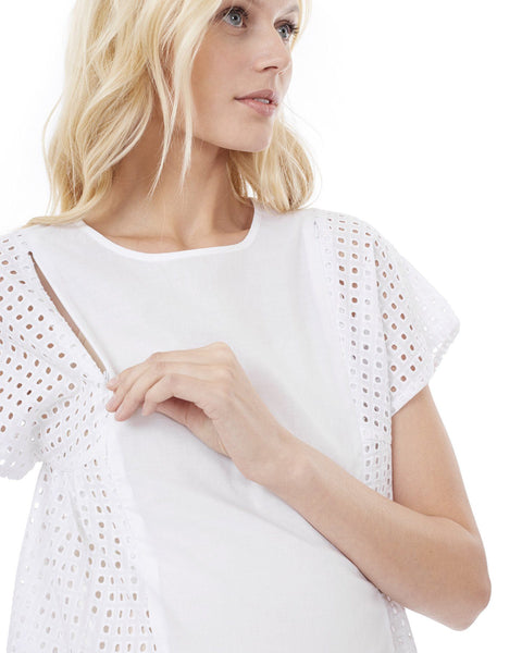 TARA - White - Nursing and Maternity Top