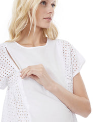 TARA - White - Nursing and Maternity Top short sleeve blouse Loyal Hana