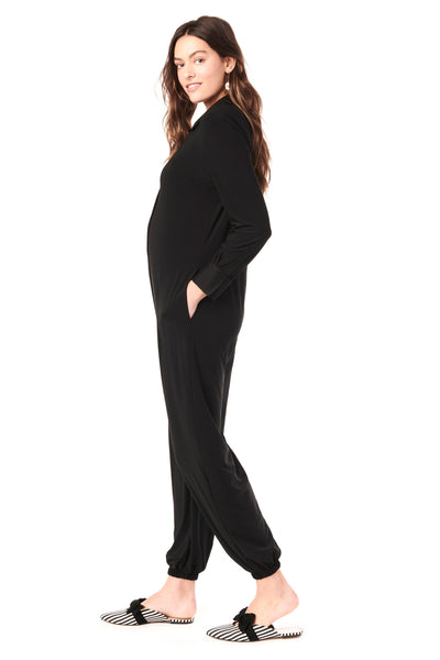 TESS IN BLACK - LONG SLEEVE NURSING AND MATERNITY JUMPSUIT