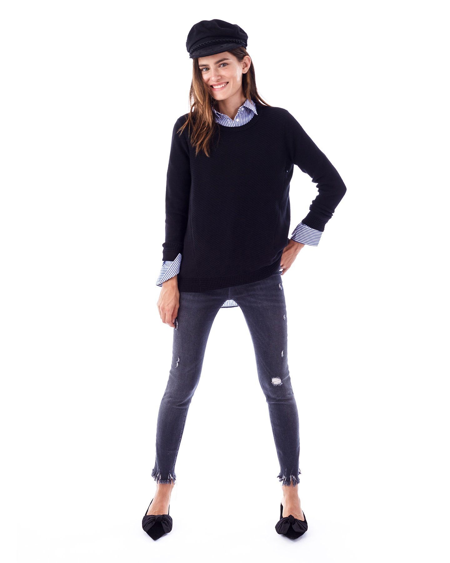 3031253afc750 ... The Wiley Nursing and Maternity Sweater with Side Zipper long sleeve  sweater Loyal Hana ...