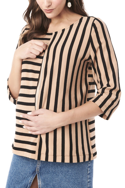 TORY IN BLACK AND TAUPE STRIPE -  3/4 SLEEVE NURSING & MATERNITY TOP