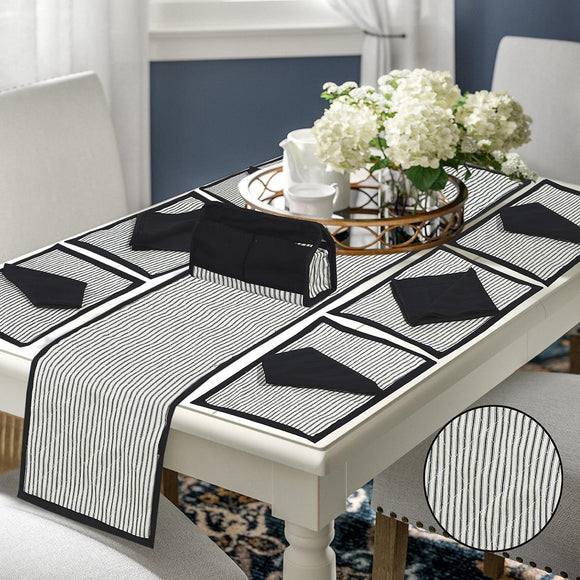 14 Pcs Quilted Table Runner Set Eloisa Black