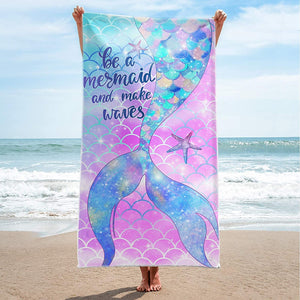 Hexagram Mermaid Beach Towel,Fantasy Mermadi Tail Microfiber Large Bath Towels for Girls, Quick Dry Kids Meraid Pool Towels Oversized Blanket for Travel