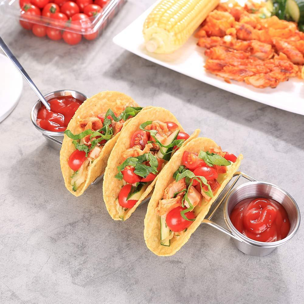 taco shelf with sauce cup