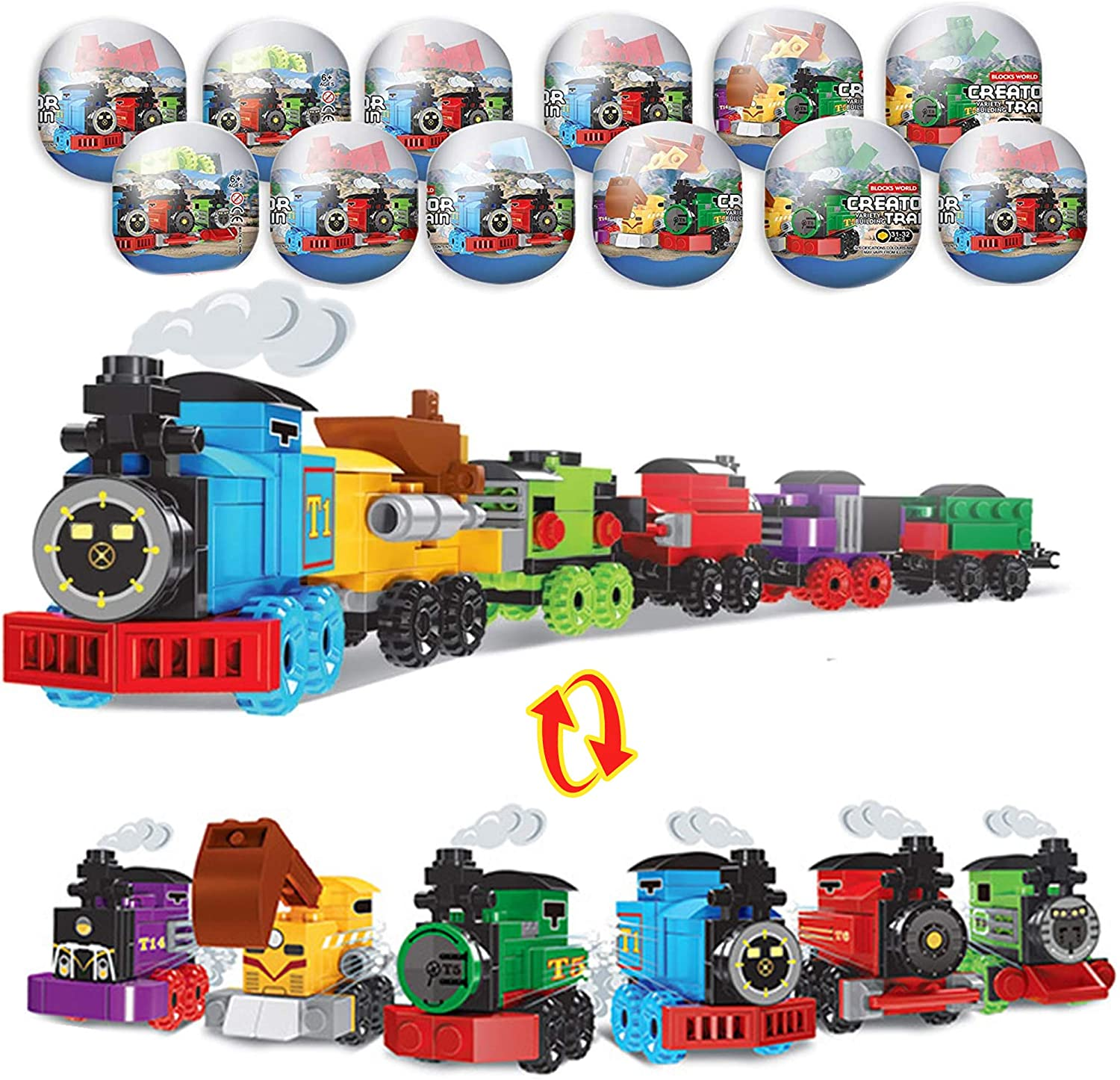 12 Pcs Easter Eggs with Train Building Blocks Toys for Easter Basket Stuffers Easter Eggs Easter Party Favors