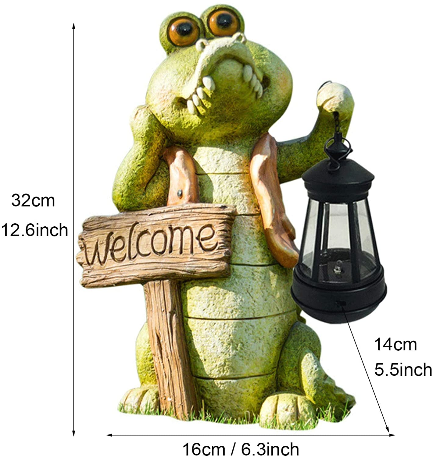 Crocodile Statue with Solar Power Creative Resin Garden Lawn Sculpture Ornaments Decoration