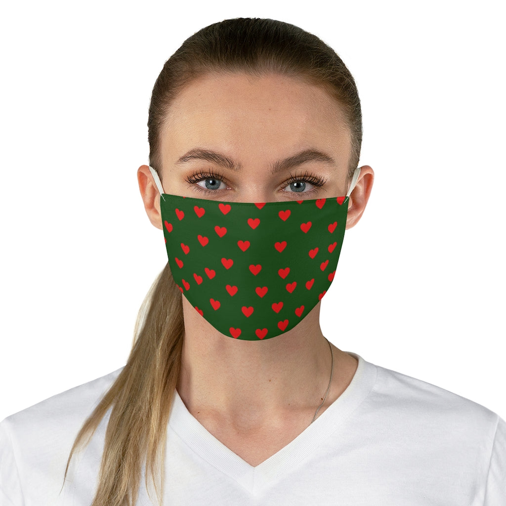 Green and Red Heart Face Mask