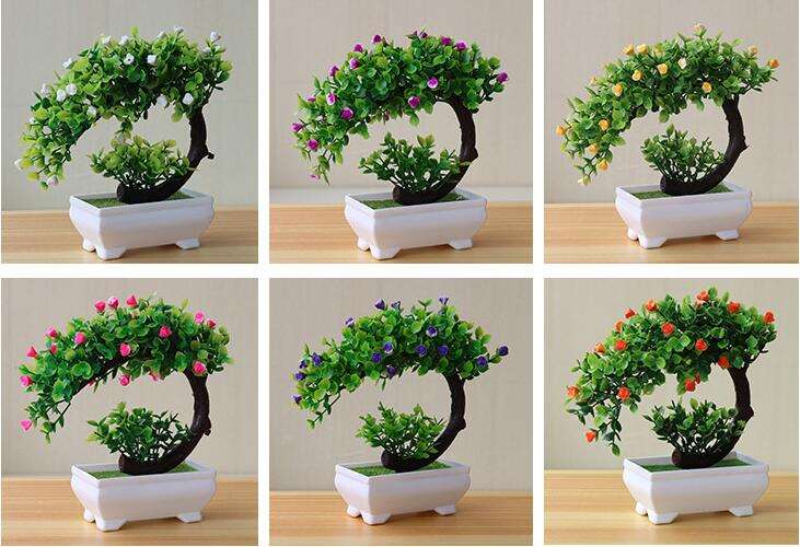 Artificial White Rose Bonsai