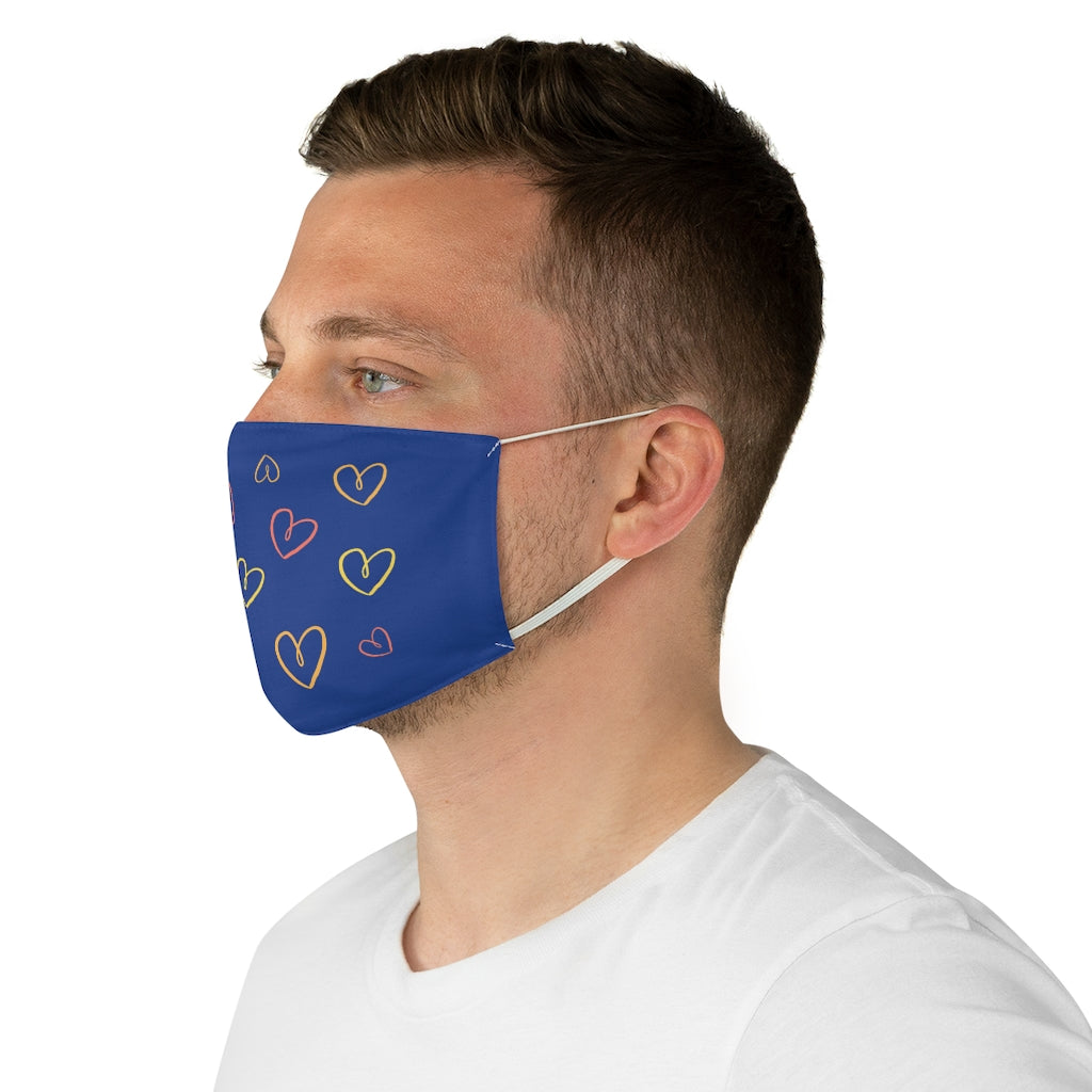 Blue Multiple Heart Face Mask