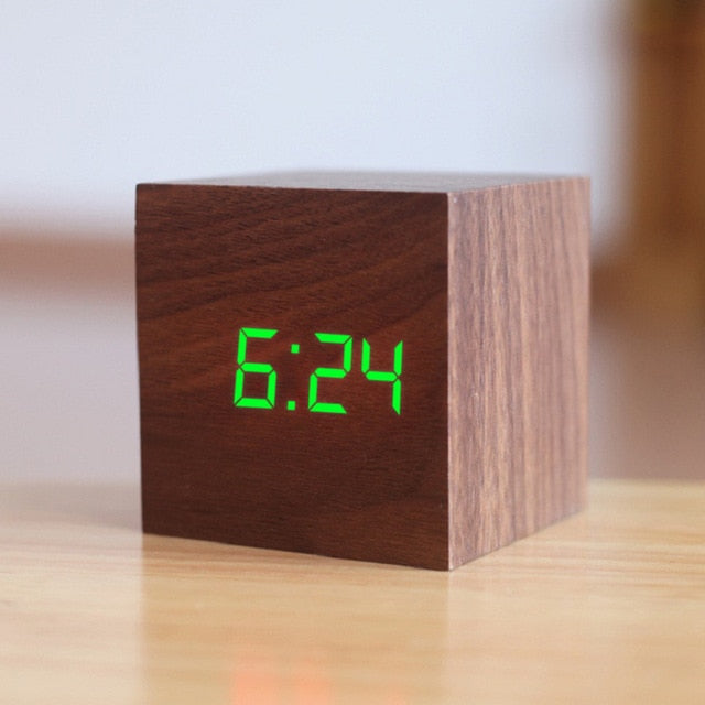 Wooden Digital Alarm Clock