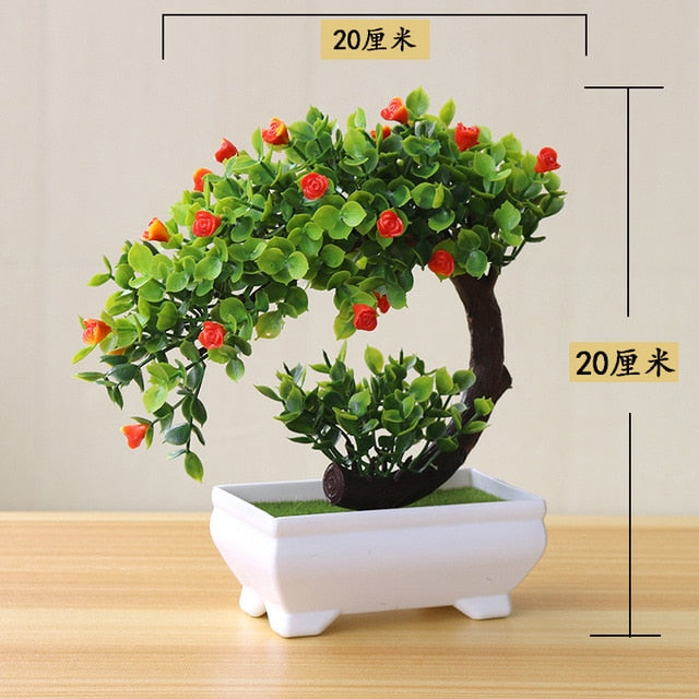 Artificial Red Rose Bonsai