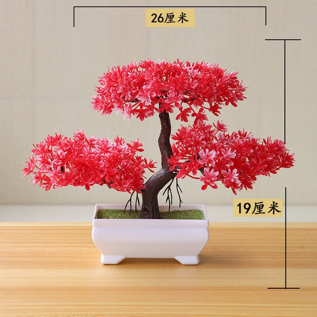 Artificial Red Yunsong Bonsai