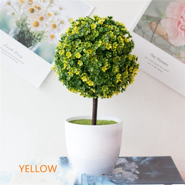 Artificial Yellow Potted Bonsai