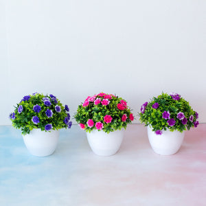 Artificial Potted Blue Flowers