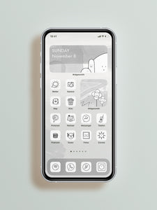 "Iphone App Icons ""cute Black & White"" IOS14 Full Bundle"