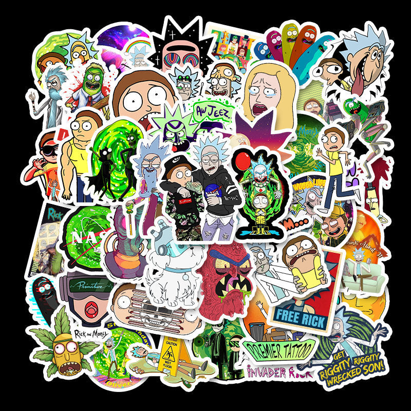 50pcs/Pack Waterproof Cartoon Rick And Morty Stickers Skateboard Suitcase Guitar Luggage Laptop Stickers Kid Classic Toy