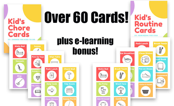 Kid's Chore and Routine Cards Bundle with eLearning Add-on