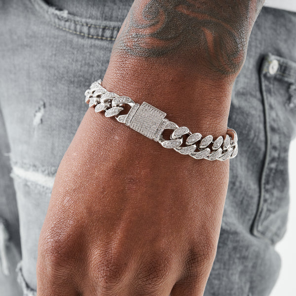 12MM CUBAN BRACELET - WHITE GOLD