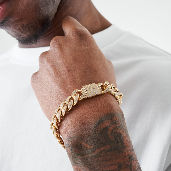 12MM CUBAN BRACELET - GOLD
