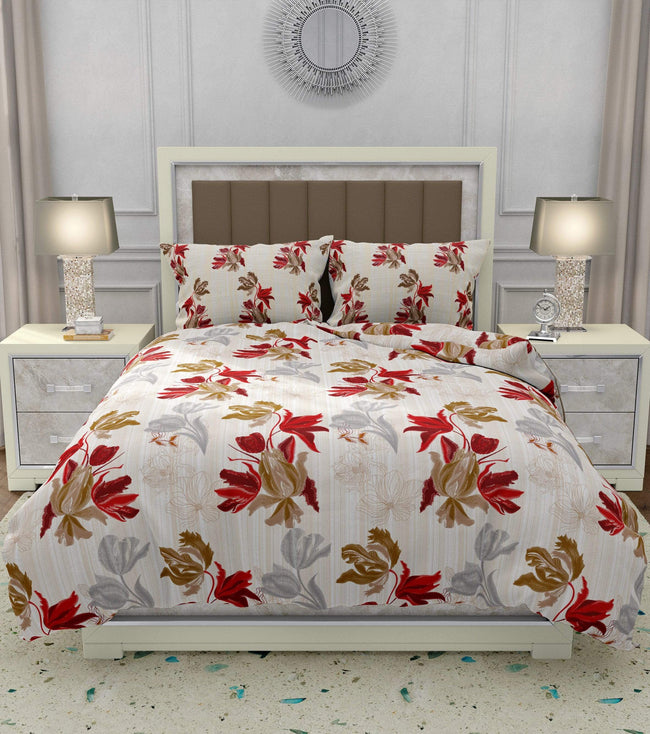 BELLA CASA FASHION Bedding Set Boutique 4 PC Bedding Set(1 Bedsheet with 2 Pillow Covers & 1 Dohar) King Size Cotton Red Colour