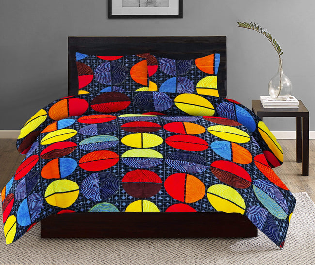 BELLA CASA FASHION BEDSHEET Bella Casa Lavish Winter Double Bedsheet Set King Size Multi Colour
