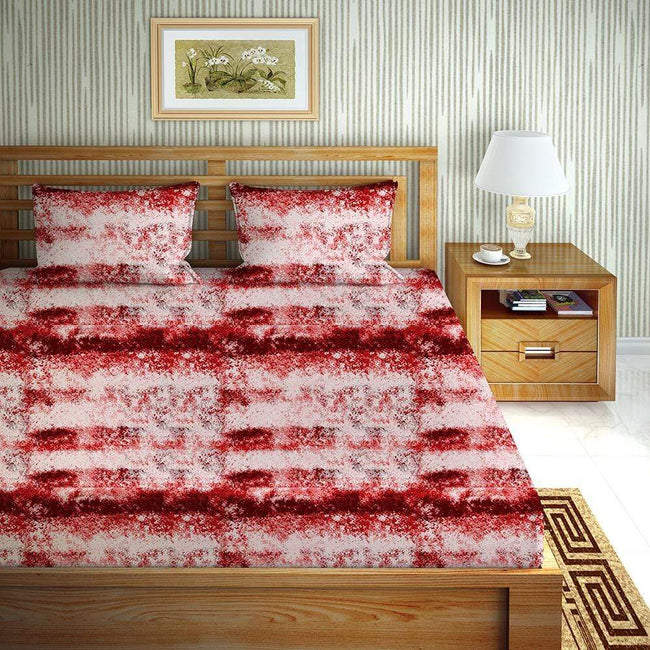 BELLA CASA FASHION BEDSHEET Bloom Double Bedsheet Set King Size 144 TC Cotton Red Colour