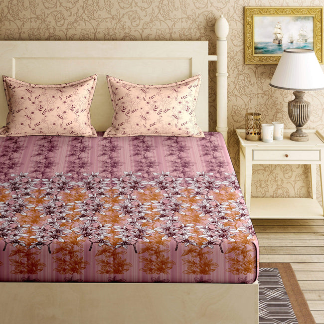 BELLA CASA FASHION BEDSHEET Bloom Double Bedsheet Set Super King Size 144 TC Cotton Pink Colour