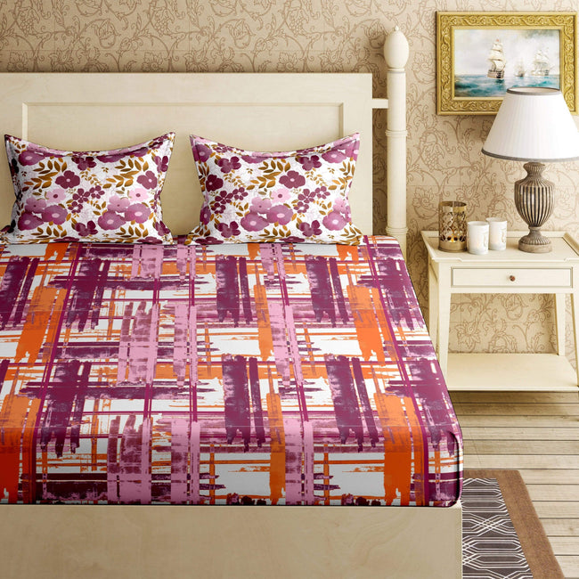 BELLA CASA FASHION BEDSHEET Manila Diwan Bedsheet Set 144 TC 100%  Cotton Coral Colour
