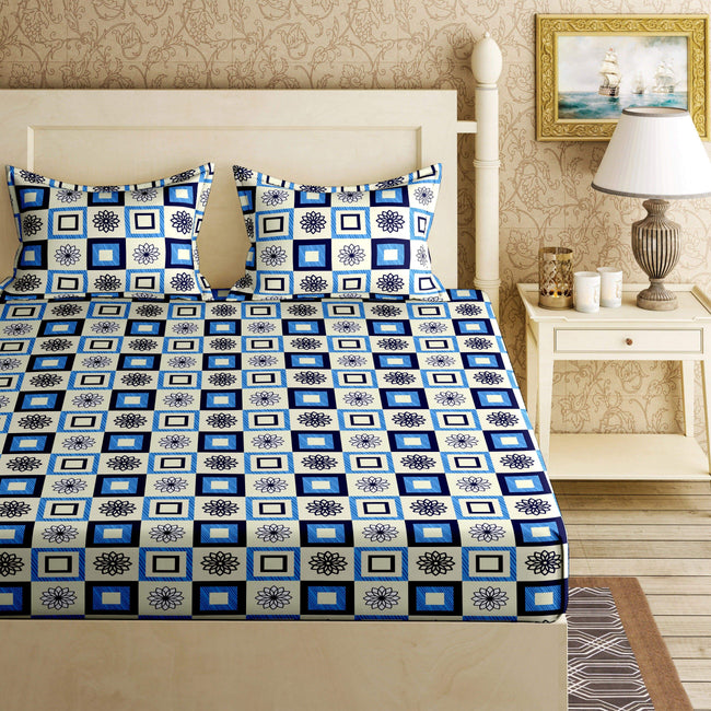 BELLA CASA FASHION BEDSHEET Orchid Double Bedsheet Set King Size 120 TC Cotton Blue Colour