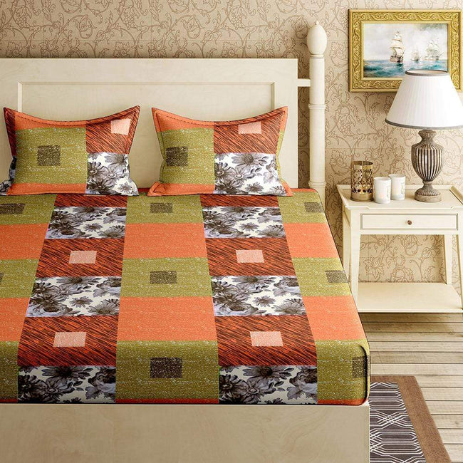 BELLA CASA FASHION BEDSHEET Orchid Double Bedsheet Set King Size 120 TC Cotton Orange Colour